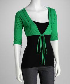 Look at this #zulilyfind! Green Front-Tie Shrug - Women #zulilyfinds