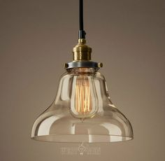 Glass Bell Shade Hanging Lamp Pendant Lamp Vintage Rustic Copper Lamp Holder Ceiling Light Industrial Clear Glass Edison Bulb Lamp With Base