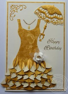 Sweet Feminine Birthday Dress Card...love the ruffles on the dress!