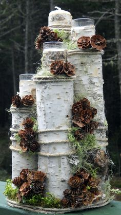 ideas for birch tree wedding centerpieces Christmas Candle Holders, Christmas Mason Jars, Christmas Centerpieces, Christmas Decorations, Birch Logs, Birch Branches, Birch Bark, Birch Trees, Outdoor Christmas