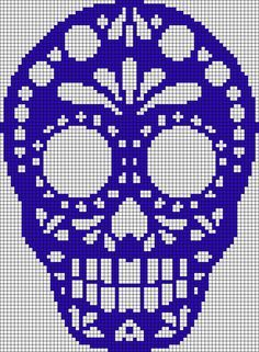 Sugar skull pattern / chart for cross stitch, crochet, knitting, knotting, beadi . Cross Stitch Skull, Cross Stitch Charts, Cross Stitch Designs, Cross Stitch Patterns, Knitting Charts, Knitting Patterns, Crochet Patterns, Bead Loom Patterns, Beading Patterns