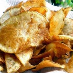 Weight Watchers Potato Chips Recipe:: They came out really tasty and are actually pretty easy to make. I found I had to cook them for about 10 minutes less than the recipe called for, but I may have sliced mine much thinner than the original cook. Make sure to flip at least once and watch them so they don't burn. The chips are good alone or with a little bit of ketchup.