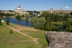 Narva river, Estonia on the left, Russia on the right