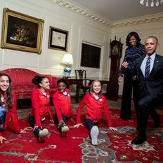 PHOTO OF THE DAY #President Of The United States 🇺🇸#BarackObama attempts his best split with the #goldmedal2016 #USOlympic #WomenGymnastics #Team with #FirstLady Of The United States #MichelleObama watching in the Map Room, prior to an event to welcome the 2016 U.S. #Olympic and #Paralympic teams to the #WhiteHouse to #honor their participation and success in the 2016 Olympic games in #Rio de Janeiro, Brazil, Sept. 29, 2016. Official White House Photo by #PeteSouza #PhotoOfTheDay