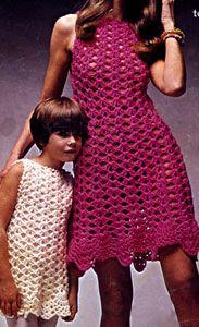 Big & Little Dresses crochet pattern originally published by Columbia Minerva, Book 2519.