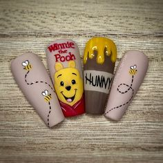 Cartoon Nail Designs, Disney Nail Designs, Cute Acrylic Nail Designs, Nail Art Designs, Long Square Acrylic Nails, Simple Acrylic Nails, Summer Acrylic Nails, Best Acrylic Nails, Disney Acrylic Nails