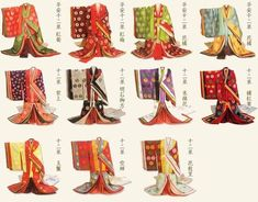 """Ceremonial dress of Japan,""""十二単"""". The noble first formal dress after 894 A. The name of the kimono is a """"junihitoe""""."""