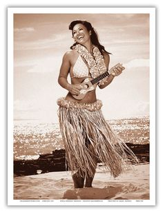 Hawaiian Hula Girl Aloha Smile Beach Ukulele Vintage Art Poster Print Giclee