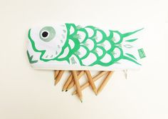 Koinobori Japanese carp koi fish green and silver hand by MushyP