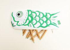 Koinobori Japanese carp koi fish green and silver hand by MushyP
