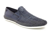 STAGE WEAVE NAVY Base London's cool summer mens slip-on shoe, Stage is the ideal…