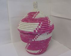 Large Pink and White Handmade Woven Basket - Nyaka, Uganda, African, Kitchen, Home Decor, Decorative, Fair Trade, Upcycled, Non-Profit, Gift by NyakaGrandmotherShop on Etsy https://www.etsy.com/ca/listing/245709726/large-pink-and-white-handmade-woven