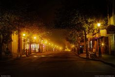 This was a very quiet late evening in Bar Harbor when a thick fog began rolling in off the ocean. This is a southward view on Main Street. Bar Harbor is the main host city of Acadia National Park. Acadia National Park, National Parks, Great Places, Beautiful Places, Beautiful Boys, Acadia Maine, Bar Harbor Maine, Mount Desert Island, After Dark