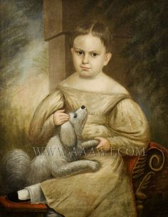 Folk Art Portrait, Child with Dog Anonymous, American School Circa 1830's    The child wearing a puffy sleeve dress is seated on classical R...