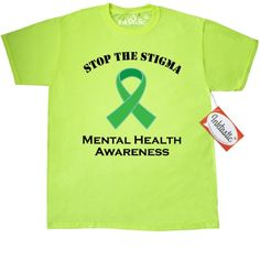 Inktastic Mental Illness Stop The Stigma T-Shirt Health Awareness Ribbon Green Support Walk Event Month Bipolar Disorder Depression Lime Mens Adult Clothing Apparel Tees T-shirts Hws, Size: XXL