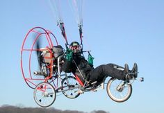 Fresh-Breeze Flyke is a Paraglider and Bicycle in one!  Wow...how exciting!