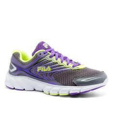 Loving this Purple & Neon Green Memory Maranello 4 Leather Sneaker - Women on #zulily! #zulilyfinds