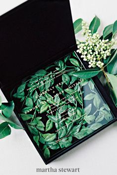 This couple's acrylic wedding invitations were placed atop greenery inside black boxes. Méldeen came up with this modern and gorgeous idea for a unique wedding. #weddingideas #wedding #marthstewartwedding #weddingplanning #weddingchecklist Wedding Stationery Trends, Acrylic Wedding Invitations, Bespoke Wedding Invitations, Destination Wedding Invitations, Wedding Invitation Design, Invitation Ideas, Geometric Wedding, Wedding Boxes, Unique Weddings