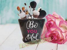 BeYOUtiful, Glitter Makeup Jar, Vanity Brush Holder, Makeup Brush Holder, Bathroom Decor, Glitter Brush Holder, Glitter Makeup Brush Holder