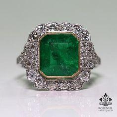 Antique Art Deco Platinum 2.94ct. Emerald & Diamond Ring