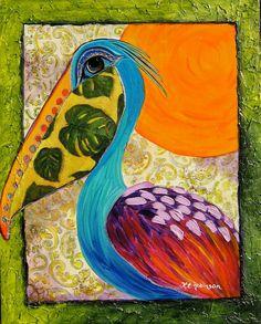 Pelican Bird whimsical colorful Tropical KeROBinson by KeROBinson, $229.00
