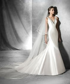 The New Design Wedding dress, mikado silk, mermaid. V-back bodice with straps and gemstone embroidery front and back. Free Measurement