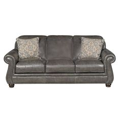 H044-30CHARCOALSO London 87  Charcoal Leather Sofa