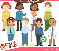 Community Helpers II  - Color Clip Art and Line Art