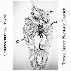 My #drawing for my work today #owl with a lot of details ✨ Tattoo Artist Nathalie Dreilick @ #Queenstreettattoo #drottninggatan   146 #helsingborg #sweden www.nathaliedreilick.se www.queenstreettattoo.se  besökstid för att boka/konsultation/visa din tattoo är endast tisdagar & torsdagar kl18.00-19.00  går även att boka via mail  visiting hours Tuesday & Thursday between   kl18.00-19.00. #tattoo #tattoogirl #tattooartist  #nathaliedreilick #tattoostars #pattern