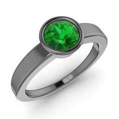 Round Emerald Ring in 14K Black Gold