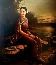 Ravivarma Paintings, Classic Paintings, Realistic Paintings, Indian Paintings, Beautiful Paintings, Painting Of Girl, Mural Painting, Fabric Painting, Raja Ravi Varma