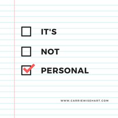 A blog about taking things personally. Or not. :)