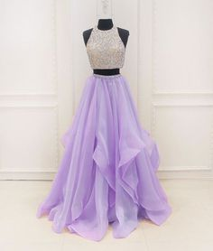 unique two pieces sequin purple long prom dress, purple evening dress