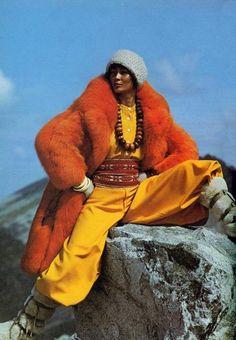 This week's Time Travel image was pulled from Harper's & Queen, a British magazine, November, Vintage Winter, Vintage Fur, Vintage Shoes, Fur Fashion, Autumn Fashion, Ladies Fashion, Studio 54 Disco, British Magazines, Seventies Fashion