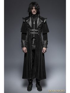 Black Gothic Long Cloak Coat for Men - Devilnight.co.uk