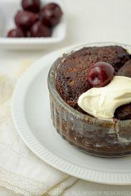 Self-saucing Chocolate Cherry Puddings (via #spinpicks).  Yum