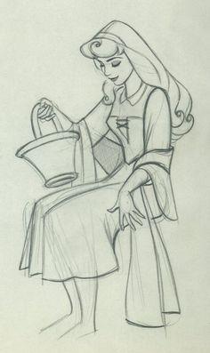 Original animation drawings of Aurora by Marc Davis