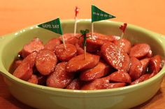 Party Kielbasa--can be made ahead and frozen for 3 months! I love freeze-ahead recipes! :)C NOTE: I could put this under 'tried and liked.' OMG, they were sooo good. I actually had to put them in the freezer to keep myself from eating too many!