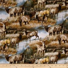 Animal Love 2 Elks & Deer in Autumn Multi from @fabricdotcom  Licensed to David Textiles by Jennie Newland/Art Licensing, this cotton print fabric is perfect for quilting, crafts and home decor accents. Colors include brown, grey, white, green and blue. This fabric is for individual use only and cannot be used for commercial use.