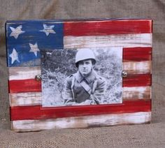 Handmade distressed block picture frame; patriotic american flag; for 4x6 or 5x7 photo; red, white, and blue on Etsy, $24.00