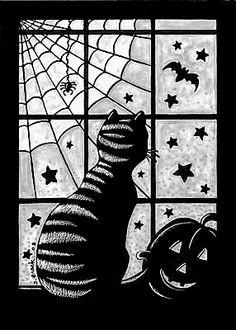Tekenen en zo: Halloween: kat voor het raam