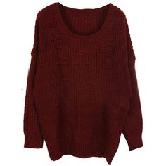 Wine Red Round Neck Long Sleeve Loose Sweater ($30) ❤ liked on Polyvore featuring tops, sweaters, shirts, jumpers, red top, round neck sweater, red shirt, wine red shirt and shirt sweater