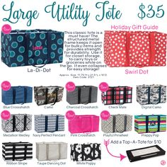 Thirty-One Large Utility Tote with Swirl Dot from Holiday Gift Guide.