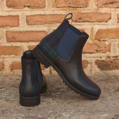 shoes - Custom Made Women's Chelsea Boot in Navy Blue Pebble Grain Leather with Blackwatch Robert August Apparel Custom Made Shoes, Custom Design Shoes, Cute Shoes, Men's Shoes, Shoe Boots, Women's Boots, Grey Suede Chelsea Boots, Slip On Boots, Mens Fashion Shoes