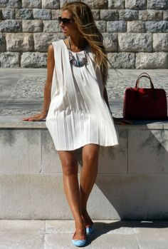 White Shift Dress with Powder Blue Straw Flats and Statement Necklace with a Red Velvet Bag
