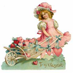 Valentine's Day Fabric Block Vintage Postcard on Fabric Victorian Beautiful Girl Valentine Images, My Funny Valentine, Vintage Valentine Cards, Vintage Greeting Cards, Vintage Ephemera, Valentine Crafts, Vintage Postcards, Vintage Images, Happy Valentines Day