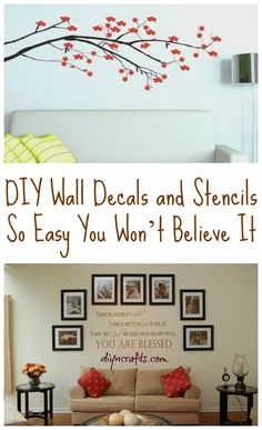 Stick--up wall decals are the hottest decor of choice for kids rooms DIY Wall Decals and Stencils So Easy You Wont Believe It - DIY Crafts Diy Wall Art, Diy Wall Decor, Diy Home Decor, Room Decor, Art Decor, Diy Projects To Try, Home Projects, Wall Decals, Wall Décor
