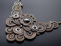 Gray and beige necklace soutache with Hematite.