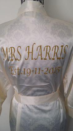 "Personalized Satin ""Mrs. ____"" Bridesmaid Robe Satin Bridal Party Robe Bride Robe Customize Using Any Wording Wedding Gift Lingerie."