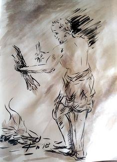 29 Avril 2018, évangile du jour illustré par un dessin au lavis